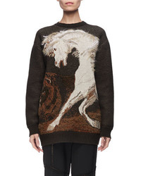 Horse intarsia virgin wool crewneck sweater medium 4983456