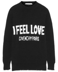 Givenchy Oversized Distressed Intarsia Cotton Sweater Black