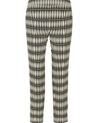 Lanvin Cropped Printed Crepe Straight Leg Pants Black