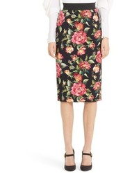 Dolcegabbana rose print cady pencil skirt medium 4952681