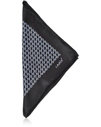 Lanvin Black Print Silk Pocket Square