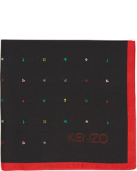 Kenzo Black Printed Pocket Square