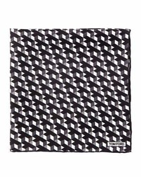Geo print silk pocket square black medium 709479