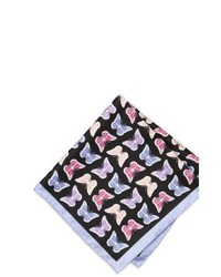 Neiman Marcus Butterfly Print Silk Pocket Square Lilacblack