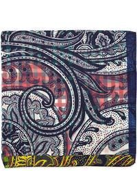 Etro Silk Paisley Print Pocket Square Pinkblue