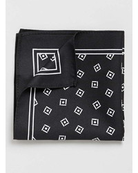 Topman Monochrome Box Print Pocket Square
