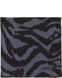 Tom Ford Zebra Print Silk Pocket Square Blackgray