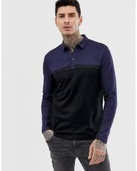 Hugo Doulon Colour Block Taped Logo Long Sleeve Polo In Black