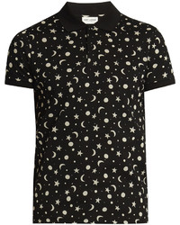 Saint Laurent Star And Moon Print Cotton Piqu Polo Shirt
