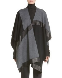 Collection leather trim intarsia knit poncho medium 4423510