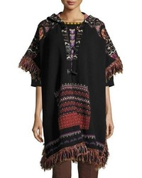 Hooded short sleeve intarsia poncho with fringe black medium 4984165