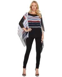 Vince Camuto Linear Graphic Panel Poncho Clothing