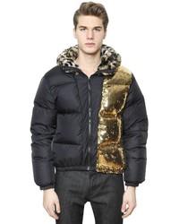 Black Print Puffer Coat