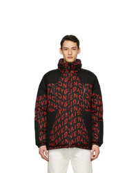 Givenchy Black And Red Refracted Puffer Coat