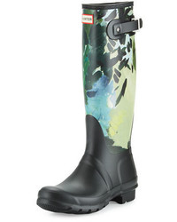 Boot original tall botanical print rain boot black medium 648739