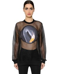 Givenchy Printed Satin Patch On Organza Top