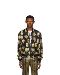 Dolce and Gabbana Black Silk Sacred Heart Bomber Jacket