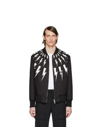 Neil Barrett Black Thunderbolt Bomber Jacket