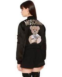 Moschino Envers Satin Bomber Jacket W Bear Patch