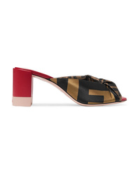 Fendi Knotted Satin And Leather Mules