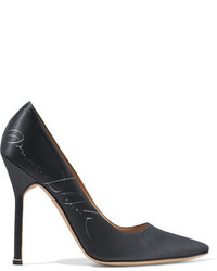 Manolo blahnik printed satin pumps black medium 3700364