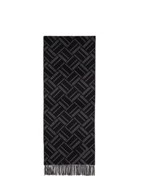Dunhill Black And Grey Abstract Longtail Jacquard Scarf