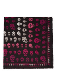 Alexander McQueen Black And Pink Multi Skull Box Scarf
