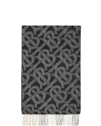 Burberry Black Cashmere Mega Check And Monogram Scarf
