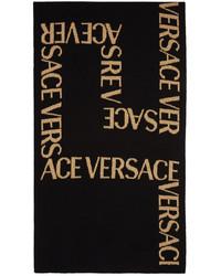 Versace Black Gold Greca Jacquard Scarf