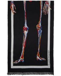 Alexander McQueen Black Skeleton Wool Scarf