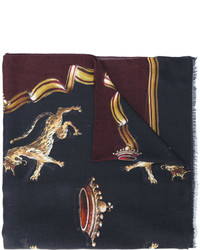 Dolce & Gabbana Crowned Wild Cat Print Scarf