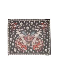 Alexander McQueen Giant Butterfly Skull Print Silk Chiffon Scarf
