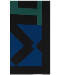 Kenzo Green Blue Wool Sport Scarf