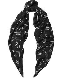Saint Laurent Intarsia Wool Scarf Black