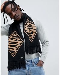 lacoste live Lacoste Lve Text Logo Reversible Scarf In Black