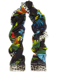 Marc Jacobs Printed Modal And Silk Blend Scarf Black
