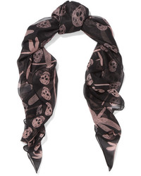 Alexander McQueen Printed Silk Chiffon Scarf Black
