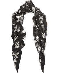 Printed silk chiffon scarf black medium 4394080