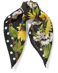 Dolce & Gabbana Printed Silk Twill Scarf Black