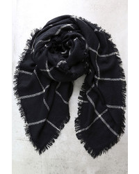 LuLu*s Put Your Arms Around Me Black Grid Print Scarf