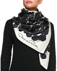 Oscar de la Renta Silk Tulip Print Scarf Black