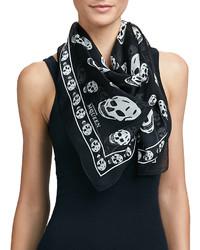 Alexander McQueen Skull Print Silk Chiffon Scarf Blackivory