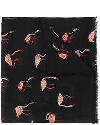 Saint Laurent Twill Flamingo Print Scarf