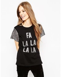 Asos Holidays T Shirt With Sequin Sleeves And Fa La La La Print
