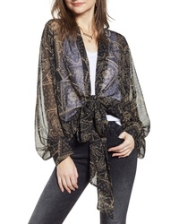 Free People Golden Hour Bandana Print Tie Front Wrap