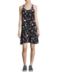 Arianna sleeveless stamp print shift dress black medium 3772316