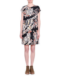 Stella McCartney Cap Sleeve Cat Print Shift Dress Black
