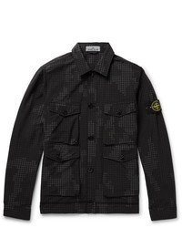 Black Print Shirt Jacket