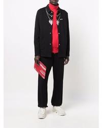 Marcelo Burlon County of Milan Feathers Necklace Overshirt Black Grey