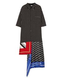 Balenciaga Asymmetric Patchwork Checked Poplin And Silk Twill Dress